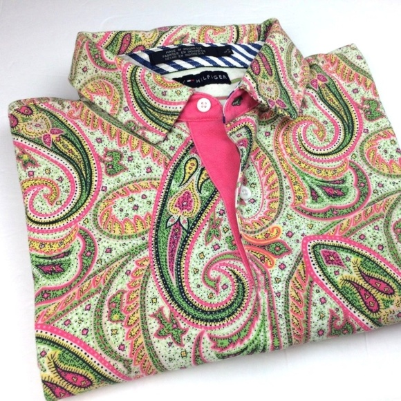 5f4a2ff5 Tommy Hilfiger Mens Green Pink Paisley Polo Shirt.  M_5b91784dc89e1d7ee5d0977f
